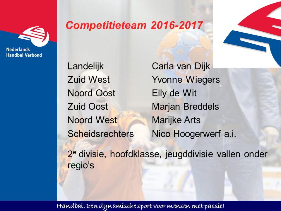 Handbal. Een dynamische sport voor mensen met passie! Competitieteam 2016-2017 LandelijkCarla van Dijk Zuid WestYvonne Wiegers Noord OostElly de Wit Z