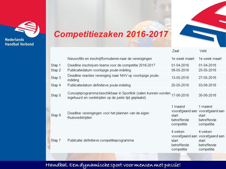 Handbal. Een dynamische sport voor mensen met passie! Competitiezaken 2016-2017 Zaal Veld Nieuwsflits en inschrijfformulieren naar de verenigingen1e w
