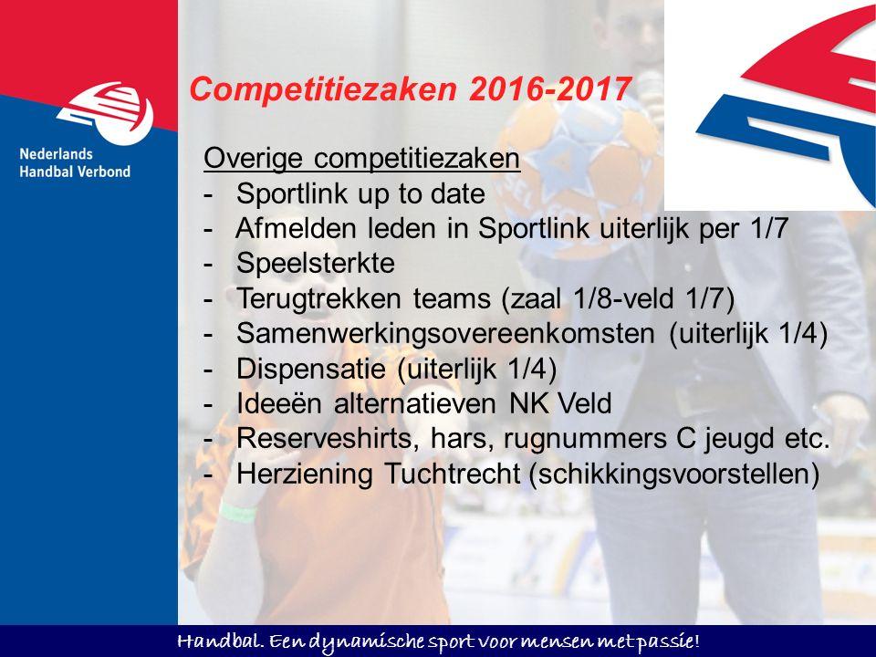 Handbal. Een dynamische sport voor mensen met passie! Competitiezaken 2016-2017 Overige competitiezaken -Sportlink up to date - Afmelden leden in Spor