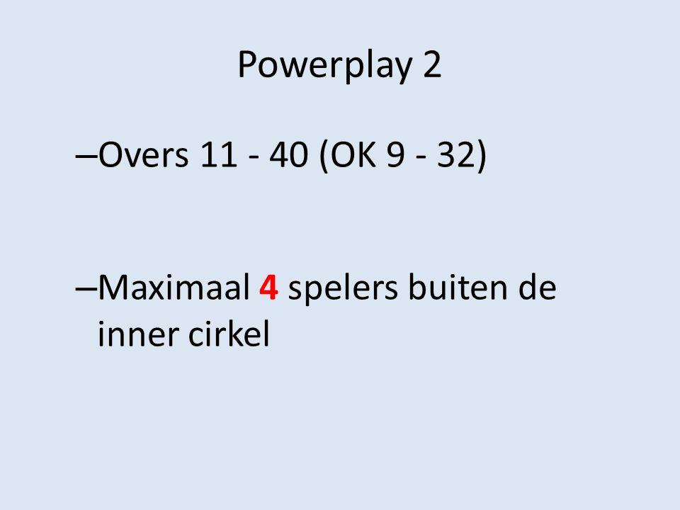 Powerplay 2 – Overs 11 - 40 (OK 9 - 32) – Maximaal 4 spelers buiten de inner cirkel