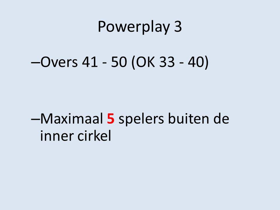 Powerplay 3 – Overs 41 - 50 (OK 33 - 40) – Maximaal 5 spelers buiten de inner cirkel