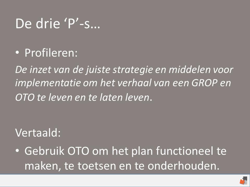 De drie 'P'-s… Profileren: De inzet van de juiste strategie en middelen voor implementatie om het verhaal van een GROP en OTO te leven en te laten lev
