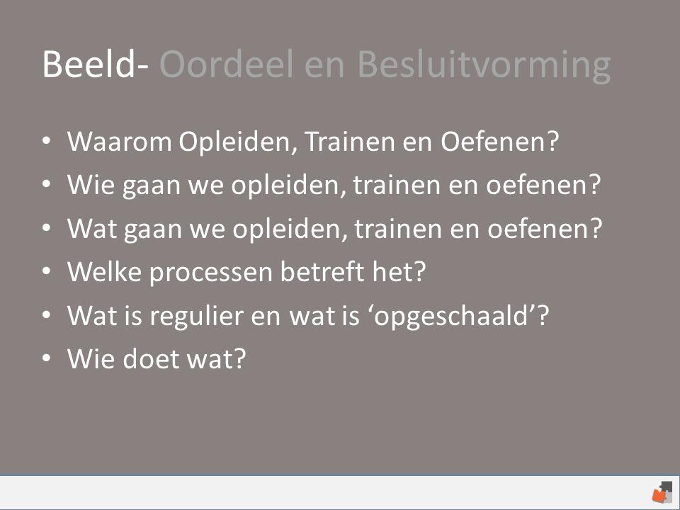 Beeld- Oordeel en Besluitvorming Waarom Opleiden, Trainen en Oefenen.