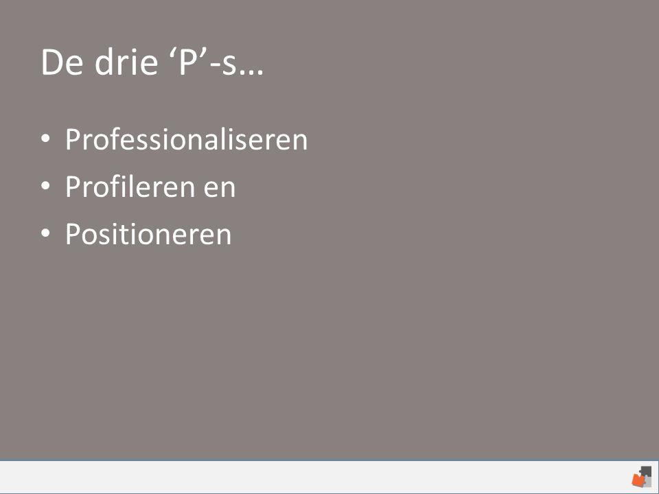 De drie 'P'-s… Professionaliseren Profileren en Positioneren