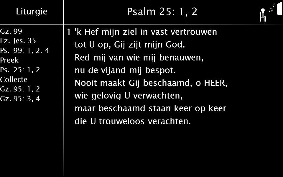 Liturgie Gz.99 Lz.Jes. 35 Ps.99: 1, 2, 4 Preek Ps.25: 1, 2 Collecte Gz.95: 1, 2 Gz.95: 3, 4 Psalm 25: 1, 2 1'k Hef mijn ziel in vast vertrouwen tot U