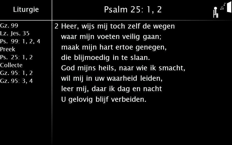 Liturgie Gz.99 Lz.Jes. 35 Ps.99: 1, 2, 4 Preek Ps.25: 1, 2 Collecte Gz.95: 1, 2 Gz.95: 3, 4 Psalm 25: 1, 2 2Heer, wijs mij toch zelf de wegen waar mij