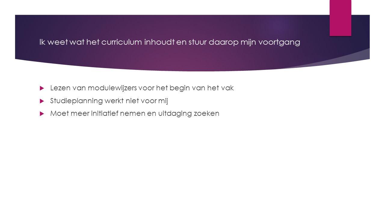 Ik weet wat het curriculum inhoudt en stuur daarop mijn voortgang  Lezen van modulewijzers voor het begin van het vak  Studieplanning werkt niet voo