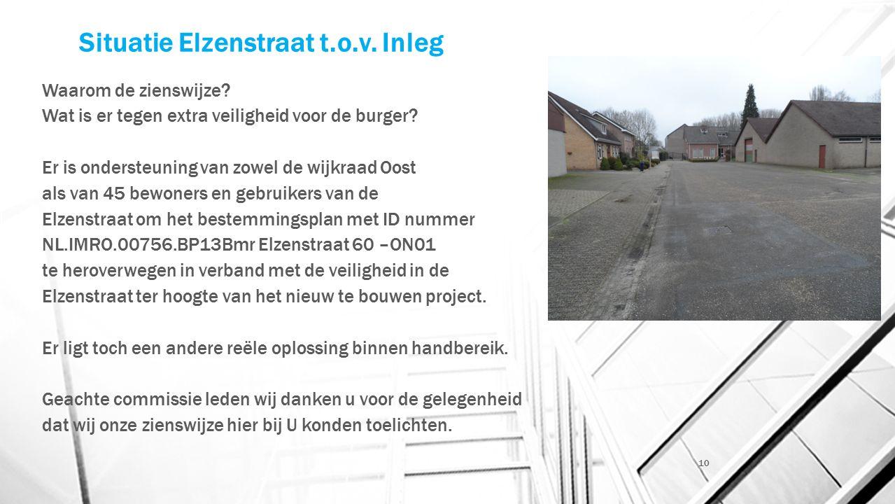 Situatie Elzenstraat t.o.v. Inleg Waarom de zienswijze.