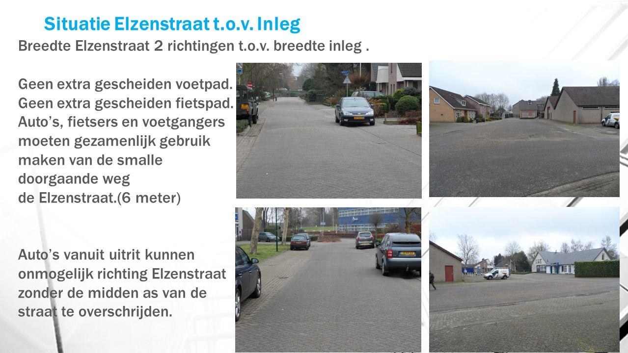 Situatie Elzenstraat t.o.v. Inleg Breedte Elzenstraat 2 richtingen t.o.v.