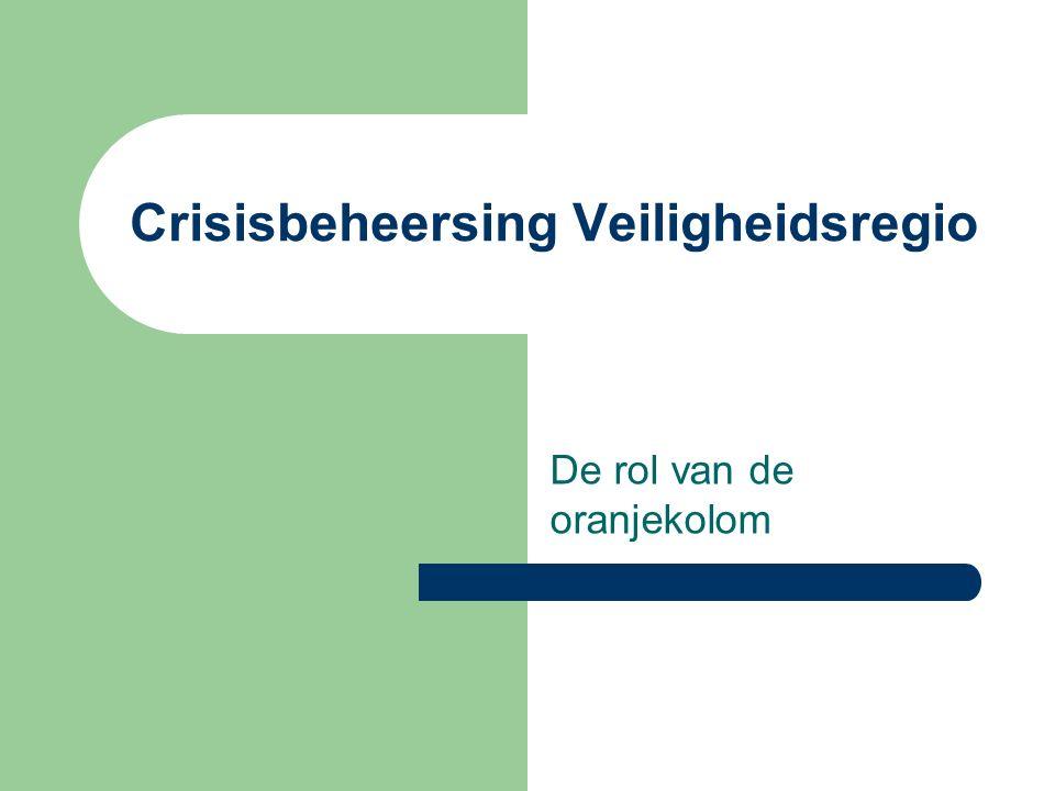 Crisisbeheersing Veiligheidsregio De rol van de oranjekolom