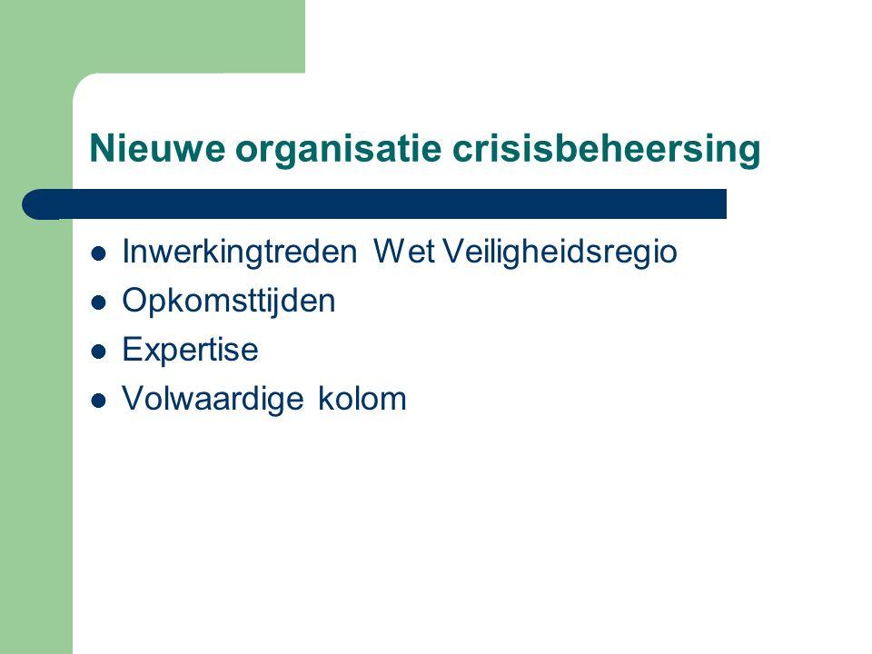 Nieuwe organisatie crisisbeheersing Inwerkingtreden Wet Veiligheidsregio Opkomsttijden Expertise Volwaardige kolom