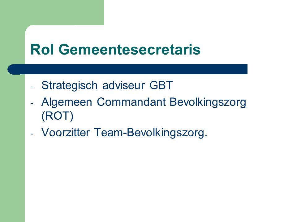 Rol Gemeentesecretaris - Strategisch adviseur GBT - Algemeen Commandant Bevolkingszorg (ROT) - Voorzitter Team-Bevolkingszorg.
