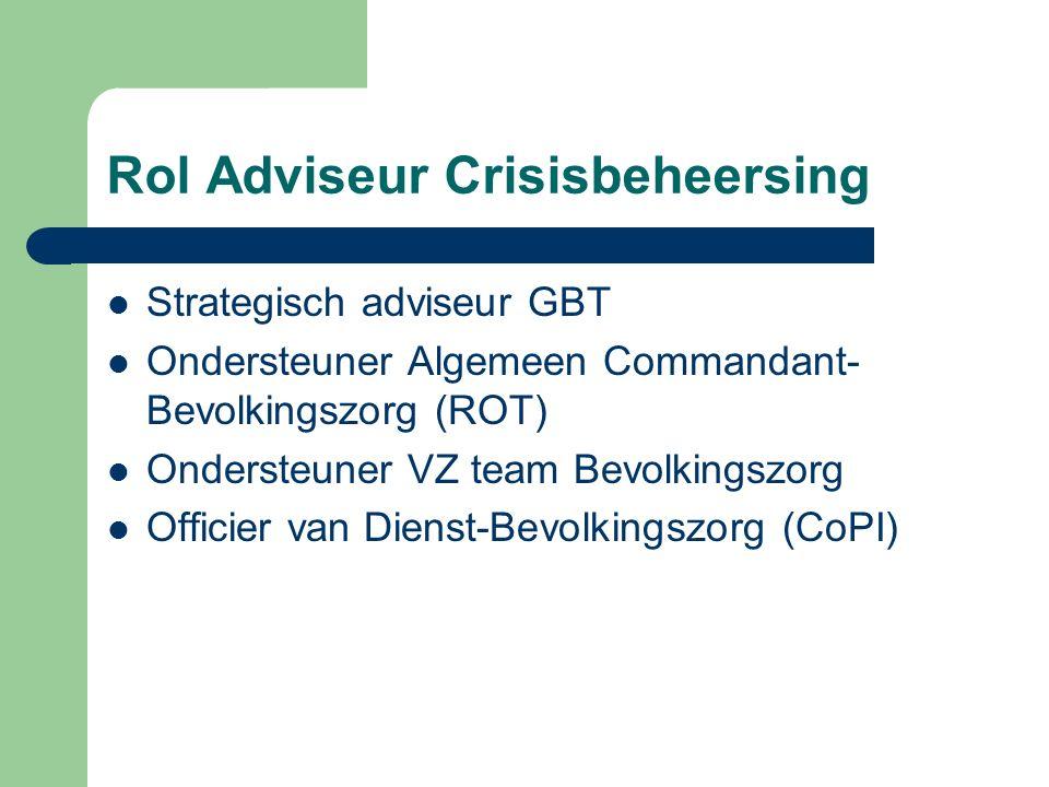 Rol Adviseur Crisisbeheersing Strategisch adviseur GBT Ondersteuner Algemeen Commandant- Bevolkingszorg (ROT) Ondersteuner VZ team Bevolkingszorg Offi