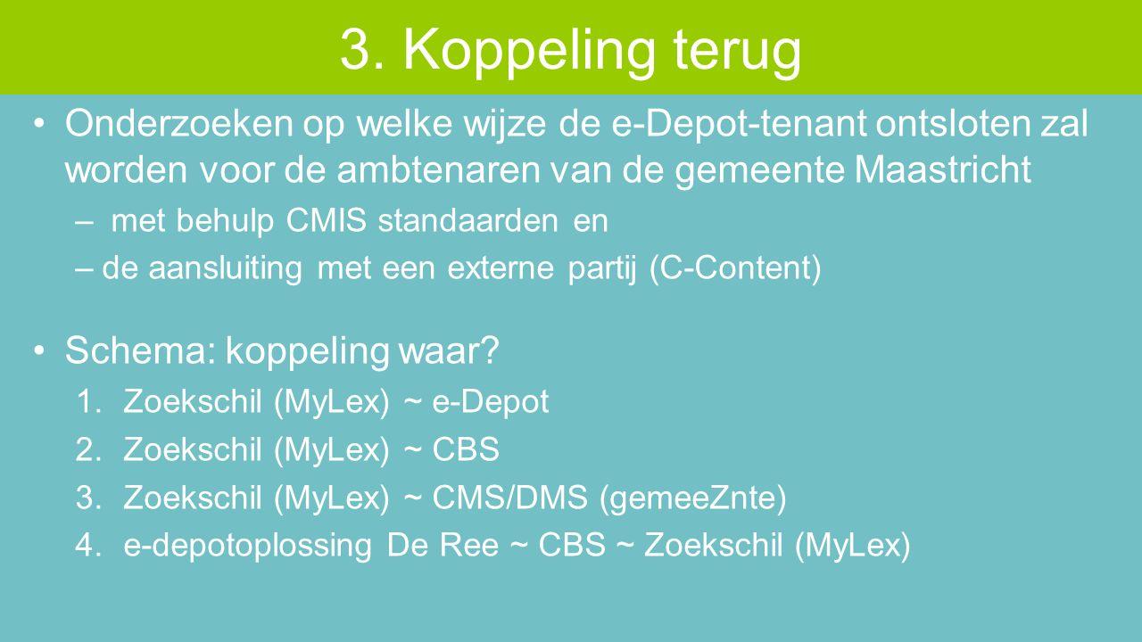 Onderzoeken op welke wijze de e-Depot-tenant ontsloten zal worden voor de ambtenaren van de gemeente Maastricht – met behulp CMIS standaarden en –de aansluiting met een externe partij (C-Content) Schema: koppeling waar.