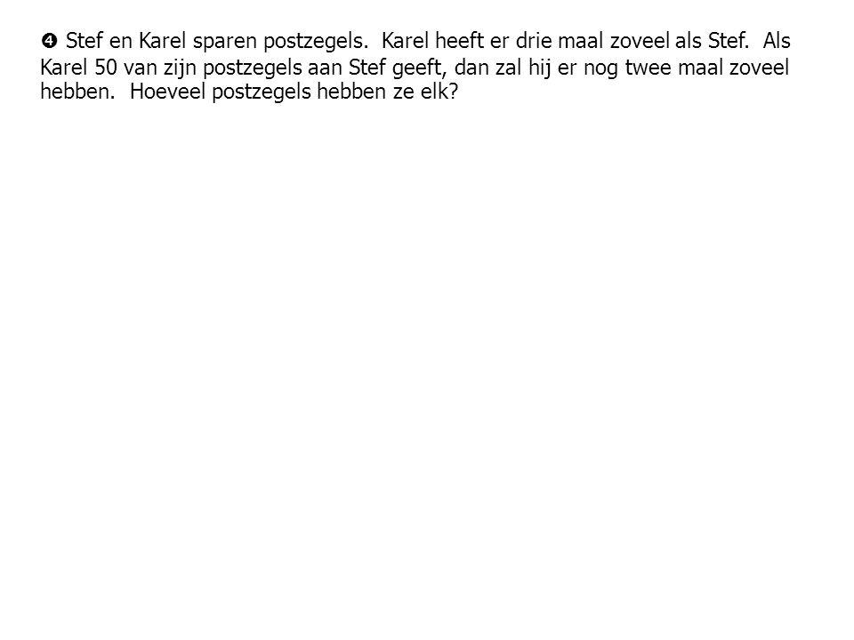  Stef en Karel sparen postzegels. Karel heeft er drie maal zoveel als Stef.