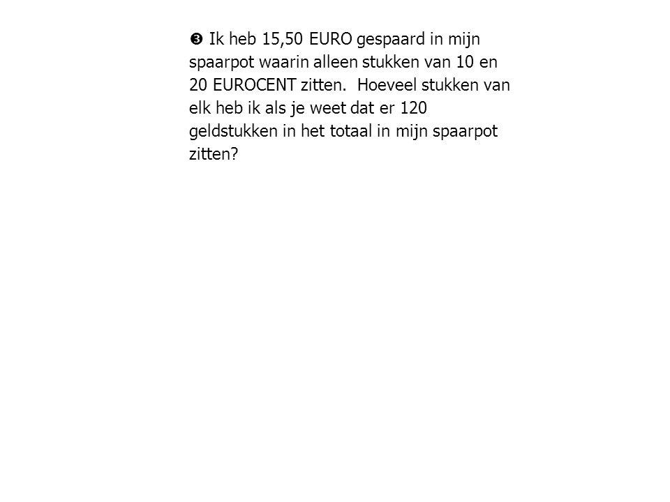  Ik heb 15,50 EURO gespaard in mijn spaarpot waarin alleen stukken van 10 en 20 EUROCENT zitten.