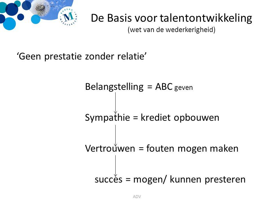 De Basis voor talentontwikkeling (wet van de wederkerigheid) 'Geen prestatie zonder relatie' Belangstelling = ABC geven Sympathie = krediet opbouwen Vertrouwen = fouten mogen maken succes = mogen/ kunnen presteren ADV