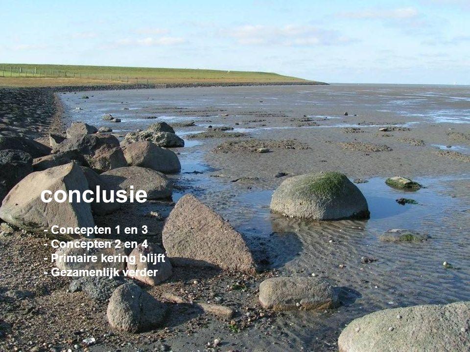 Marconi conclusie - Concepten 1 en 3 - Concepten 2 en 4 - Primaire kering blijft - Gezamenlijk verder