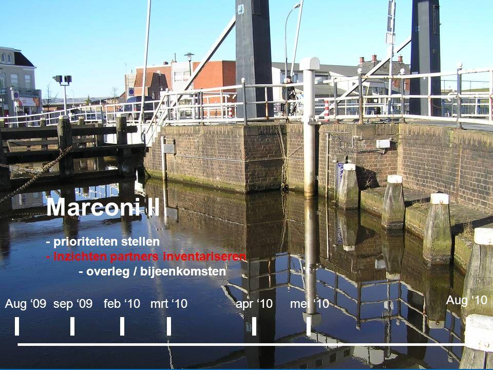 Marconi II - prioriteiten stellen - Inzichten partners inventariseren - overleg / bijeenkomsten Marconi II Aug '09sep '09apr '10 Aug '10 mei '10mrt '10feb '10