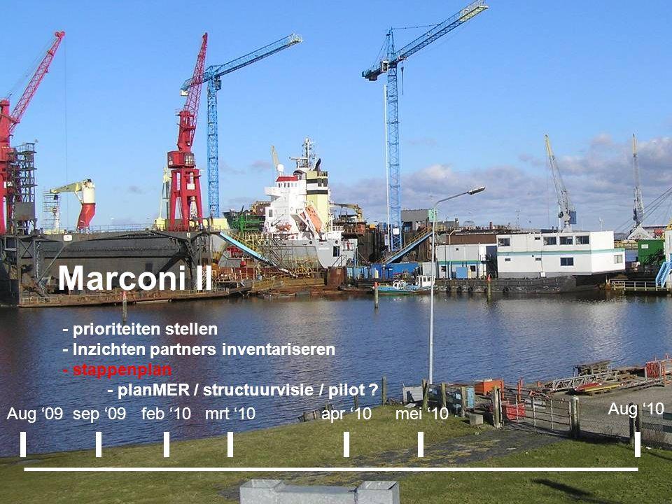 Marconi II - prioriteiten stellen - Inzichten partners inventariseren - stappenplan - planMER / structuurvisie / pilot ? Aug '09sep '09apr '10 Aug '10