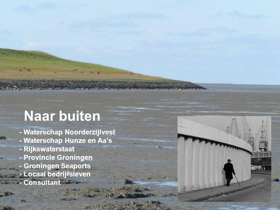- Waterschap Noorderzijlvest - Waterschap Hunze en Aa's - Rijkswaterstaat - Provincie Groningen - Groningen Seaports - Locaal bedrijfsleven - Consultant Naar buiten
