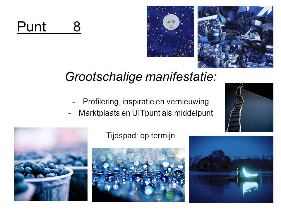 Punt8 Grootschalige manifestatie: -Profilering, inspiratie en vernieuwing -Marktplaats en UITpunt als middelpunt Tijdspad: op termijn