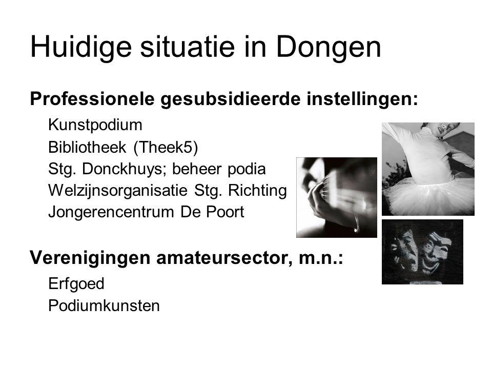 Huidige situatie in Dongen Professionele gesubsidieerde instellingen: Kunstpodium Bibliotheek (Theek5) Stg.