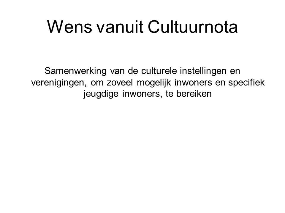 Wens vanuit Cultuurnota Samenwerking van de culturele instellingen en verenigingen, om zoveel mogelijk inwoners en specifiek jeugdige inwoners, te bereiken