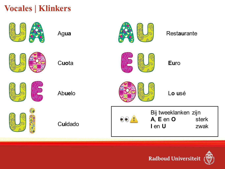 Vocales | Klinkers Agua Cuota Abuelo Cuidado Bij tweeklanken zijn A, E en Osterk I en Uzwak Restaurante Euro Lo usé