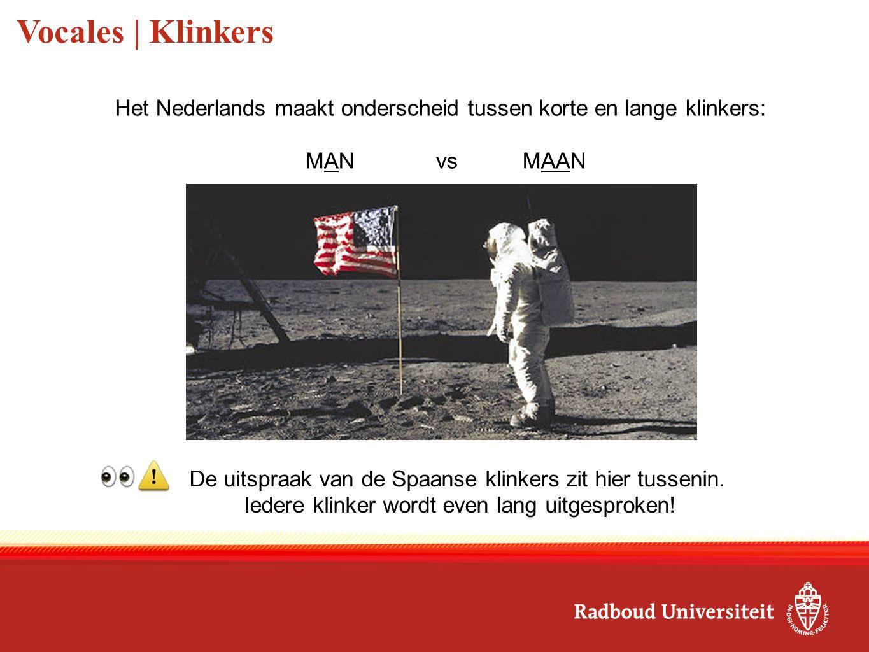 Vocales | Klinkers Het Nederlands maakt onderscheid tussen korte en lange klinkers: MANvsMAAN De uitspraak van de Spaanse klinkers zit hier tussenin.