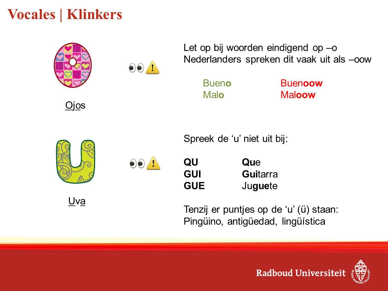 Consonantes | Medeklinkers Zoals de Nederlandse 'l' Libro Wordt uitgesproken als 'j', tenzij het een woord is: 'y' (en) als 'ie' Yo Zoals de Nederlandse 'j' (Spanje) / 'dj' (Spaans-Amerika) Me llamo