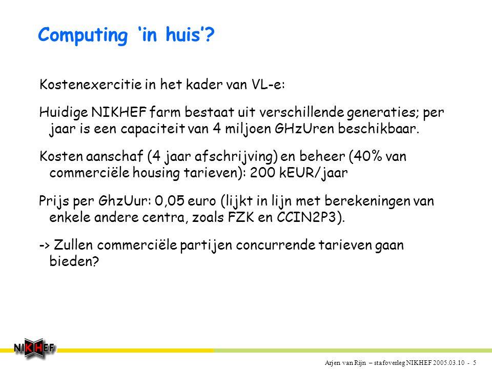 Arjen van Rijn – stafoverleg NIKHEF 2005.03.10 - 5 Computing 'in huis'.
