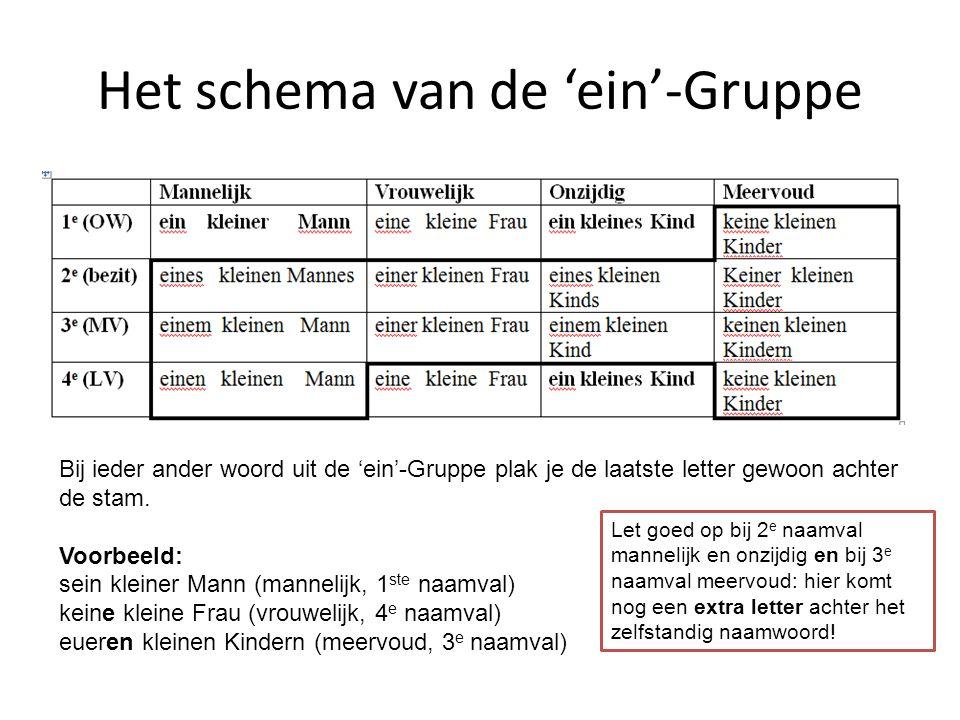 Het schema van de 'ein'-Gruppe Bij ieder ander woord uit de 'ein'-Gruppe plak je de laatste letter gewoon achter de stam. Voorbeeld: sein kleiner Mann