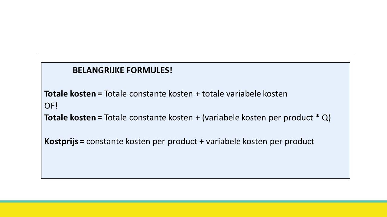 BELANGRIJKE FORMULES. Totale kosten = Totale constante kosten + totale variabele kosten OF.