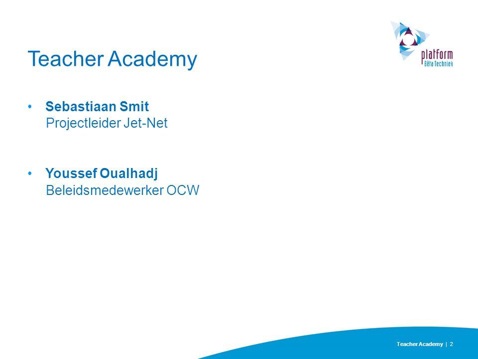 Teacher Academy | 2 Teacher Academy Sebastiaan Smit Projectleider Jet-Net Youssef Oualhadj Beleidsmedewerker OCW