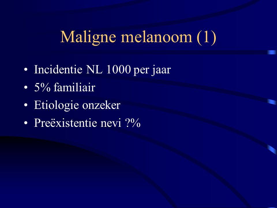 Maligne melanoom (1) Incidentie NL 1000 per jaar 5% familiair Etiologie onzeker Preëxistentie nevi %