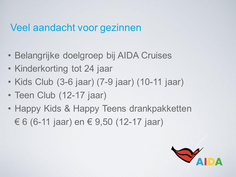 Veel aandacht voor gezinnen Belangrijke doelgroep bij AIDA Cruises Kinderkorting tot 24 jaar Kids Club (3-6 jaar) (7-9 jaar) (10-11 jaar) Teen Club (1