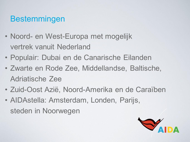 Bestemmingen Noord- en West-Europa met mogelijk vertrek vanuit Nederland Populair: Dubai en de Canarische Eilanden Zwarte en Rode Zee, Middellandse, Baltische, Adriatische Zee Zuid-Oost Azië, Noord-Amerika en de Caraïben AIDAstella: Amsterdam, Londen, Parijs, steden in Noorwegen