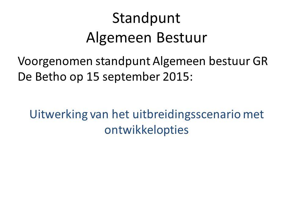 Standpunt Algemeen Bestuur Voorgenomen standpunt Algemeen bestuur GR De Betho op 15 september 2015: Uitwerking van het uitbreidingsscenario met ontwikkelopties