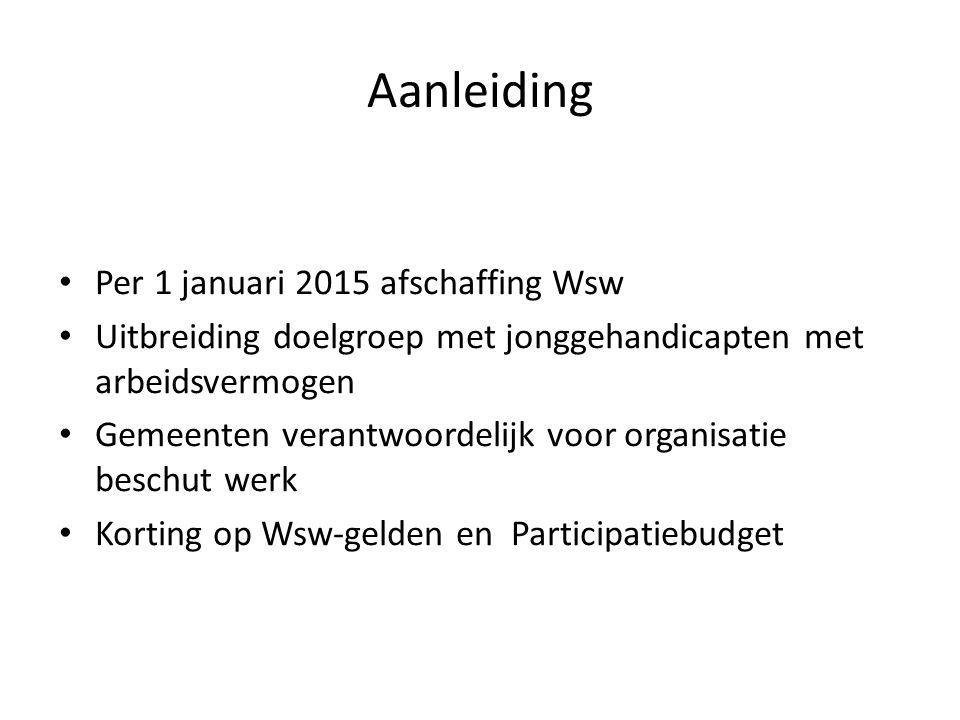 Aanleiding Per 1 januari 2015 afschaffing Wsw Uitbreiding doelgroep met jonggehandicapten met arbeidsvermogen Gemeenten verantwoordelijk voor organisatie beschut werk Korting op Wsw-gelden en Participatiebudget