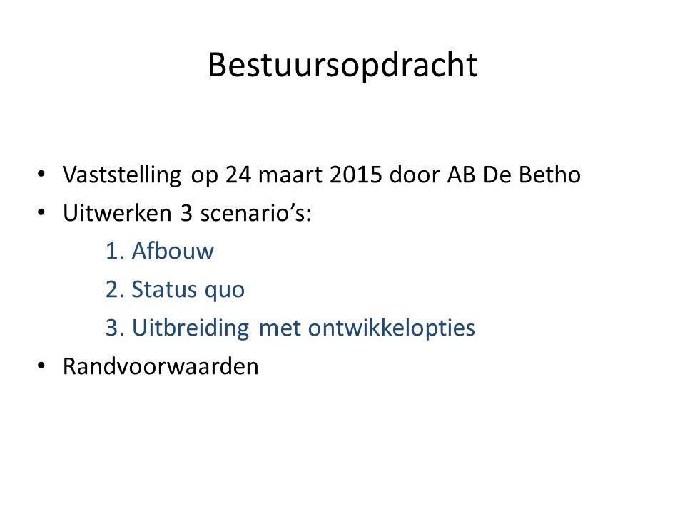 Bestuursopdracht Vaststelling op 24 maart 2015 door AB De Betho Uitwerken 3 scenario's: 1.