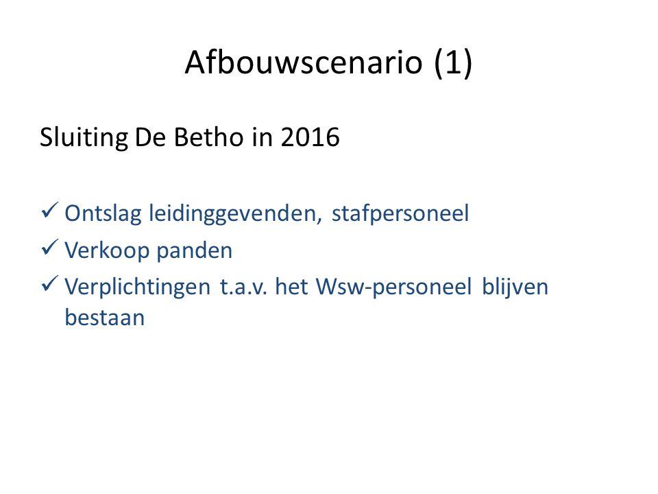 Afbouwscenario (1) Sluiting De Betho in 2016 Ontslag leidinggevenden, stafpersoneel Verkoop panden Verplichtingen t.a.v.