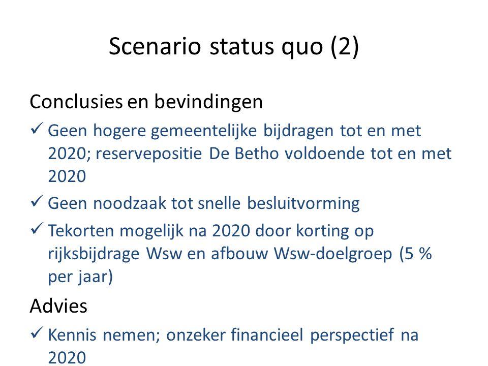 Scenario status quo (2) Conclusies en bevindingen Geen hogere gemeentelijke bijdragen tot en met 2020; reservepositie De Betho voldoende tot en met 2020 Geen noodzaak tot snelle besluitvorming Tekorten mogelijk na 2020 door korting op rijksbijdrage Wsw en afbouw Wsw-doelgroep (5 % per jaar) Advies Kennis nemen; onzeker financieel perspectief na 2020