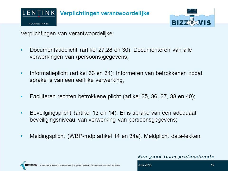 Logo klant 12 Verplichtingen van verantwoordelijke: Documentatieplicht (artikel 27,28 en 30): Documenteren van alle verwerkingen van (persoons)gegeven