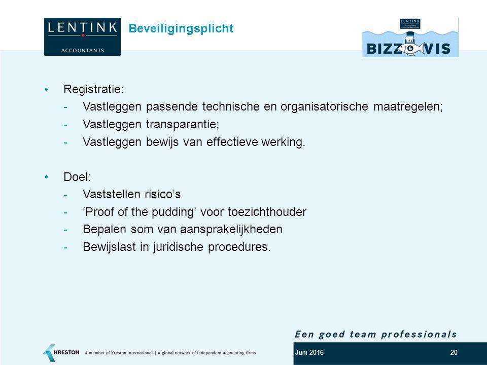 Logo klant 20 Registratie: -Vastleggen passende technische en organisatorische maatregelen; -Vastleggen transparantie; -Vastleggen bewijs van effectie