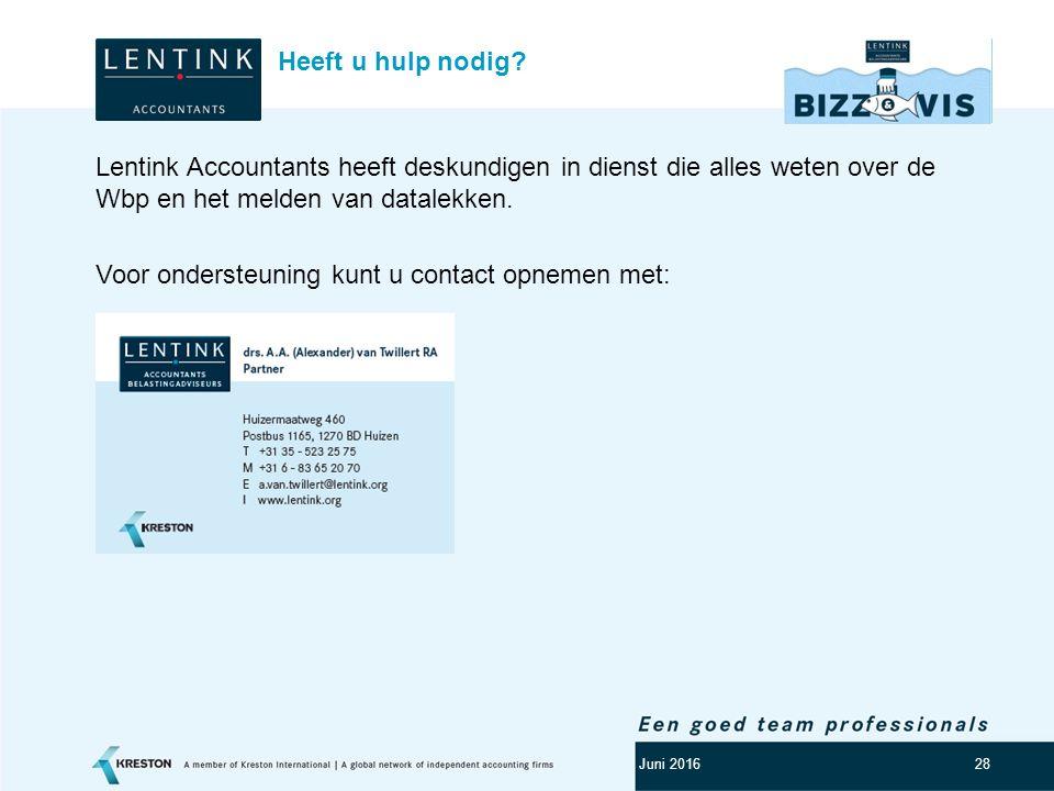 Logo klant 28 Lentink Accountants heeft deskundigen in dienst die alles weten over de Wbp en het melden van datalekken. Voor ondersteuning kunt u cont