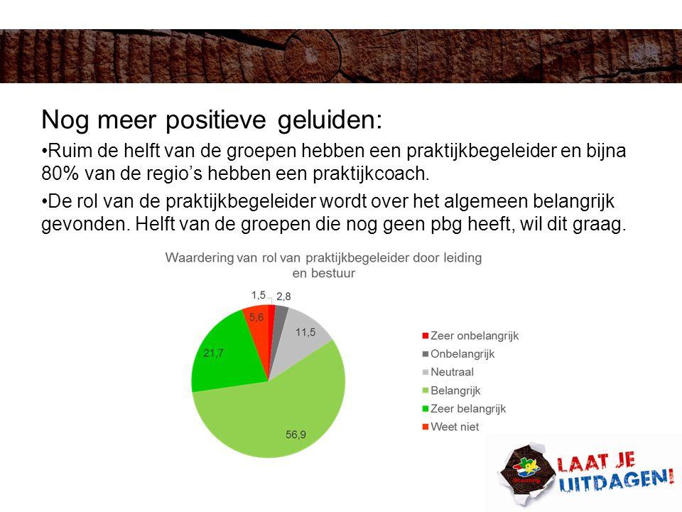 Nog meer positieve geluiden: Ruim de helft van de groepen hebben een praktijkbegeleider en bijna 80% van de regio's hebben een praktijkcoach.