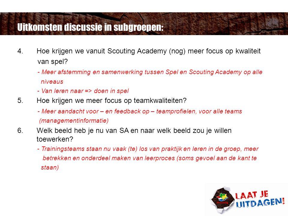 Uitkomsten discussie in subgroepen: 4.Hoe krijgen we vanuit Scouting Academy (nog) meer focus op kwaliteit van spel.