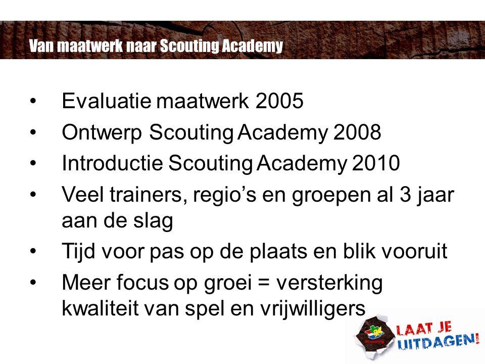 Van maatwerk naar Scouting Academy Evaluatie maatwerk 2005 Ontwerp Scouting Academy 2008 Introductie Scouting Academy 2010 Veel trainers, regio's en groepen al 3 jaar aan de slag Tijd voor pas op de plaats en blik vooruit Meer focus op groei = versterking kwaliteit van spel en vrijwilligers