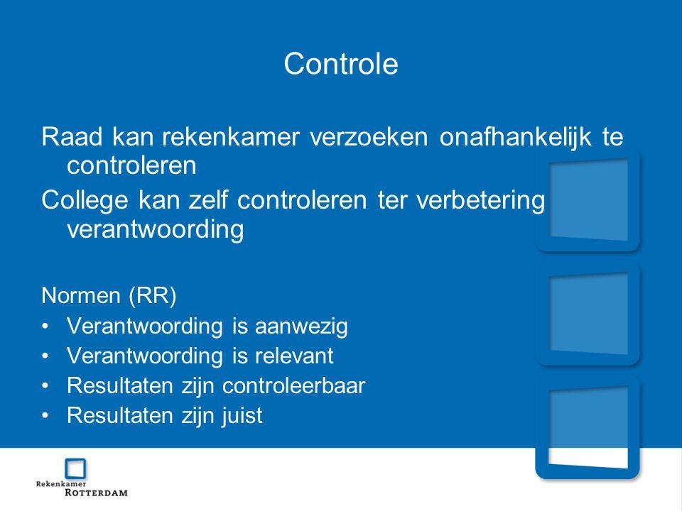 Controle Raad kan rekenkamer verzoeken onafhankelijk te controleren College kan zelf controleren ter verbetering verantwoording Normen (RR) Verantwoor